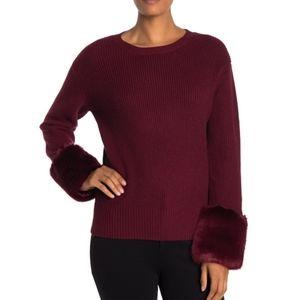 Love Token Faux Fur Cuff Knit Sweater XS S Wine